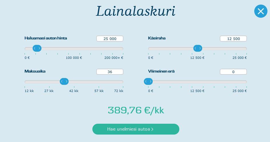 Danske Bank kuvakaapaus lainalaskurista
