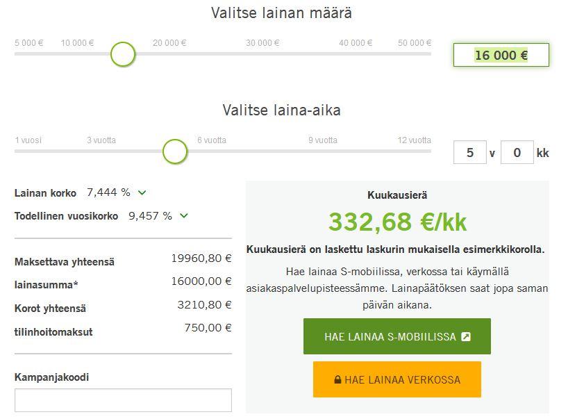 S-Pankki kuvakaappaus lainalaskurista